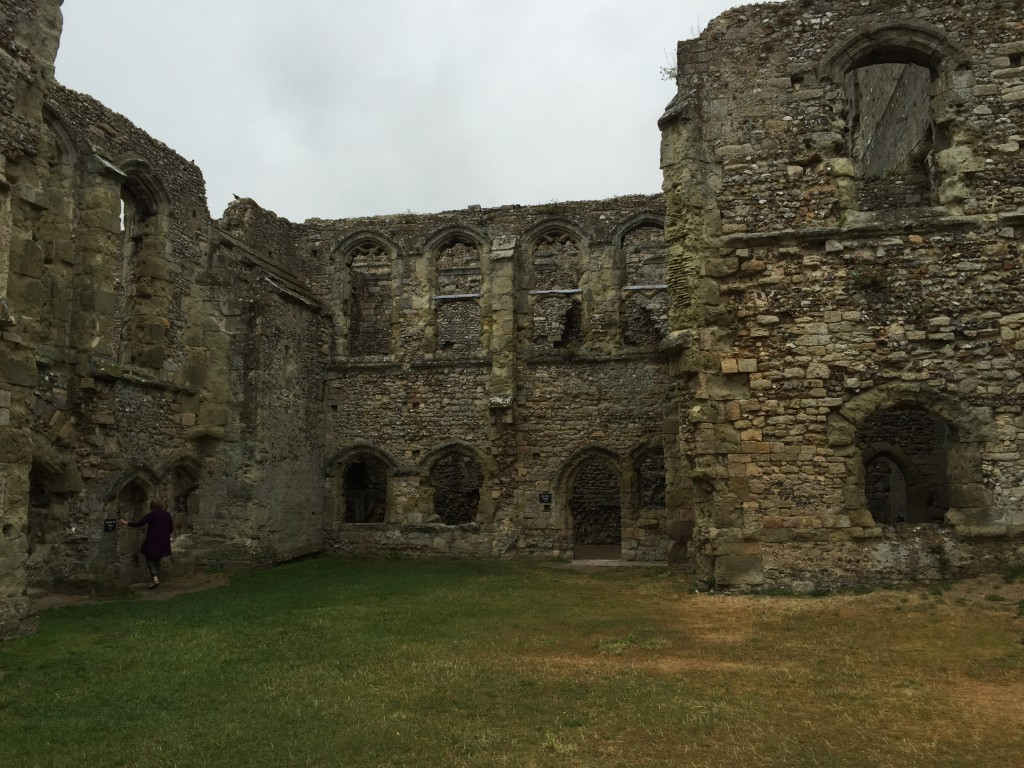 Porchester Castle in the summer rain.